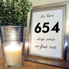 Personalize table numbers with your relationship milestones.   Photo credit: Etsy.com