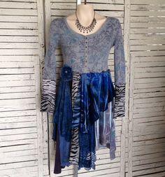 Denim Blue Tunic XS Upcycled Clothing Upcycled by AnikaDesigns