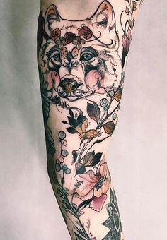 Magdalena Pliszka flower wolf tattoo