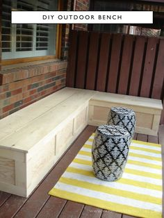 Rambling Renovators: All Decked Out! Are you looking to add seating to an outdoor space? Try this beginner DIY outdoor bench seat project. This L-shaped bench seat will make the most use of a small outdoor space and provide outdoor storage. Outside Storage Bench, Storage Bench Seating, Corner Seating, Outdoor Corner Bench, Storage Beds, Deck Bench Seating, Outdoor Storage Benches, Outdoor Diy Bench, Wood Storage