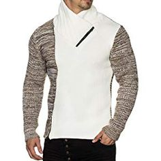 Shoppen Sie Pullover Herren Strickpullover Strick Pulli Winter asymetrisch  Zopfstrick Slim Fit Optik auf Amazon.de Pullover 0977deed0