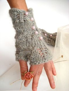 Pearled knitted lace fingerless gloves.