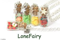 """Mini Fruit Bottle Necklaces. Chain; Silver plated; 18? 16"""" or 20"""". Contents; Polymer clay Bottle; Glass & cork; 23 mm approx. Bespoke commissions undertaken in Gemstone/wire/beaded and solid silver jewellery.   eBay!"""
