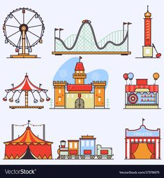 Buy Amusement Park Vector Flat Elements Isolated by on GraphicRiver. Amusement ride or luna park roller coasters entertainment vector set.Linear style illustrations isolated on white. Kids Amusement Parks, Amusement Park Rides, Ride Drawing, Fair Rides, Episode Interactive Backgrounds, Carnival Rides, Fun Fair, Design Poster, Cute Doodles