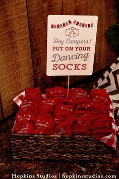 Dancing socks from a Camping Themed Bar Mitzvah Celebration on Kara's Party Ideas   KarasPartyIdeas.com (70)