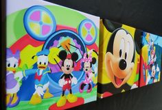3 X DEEP EDGE CANVAS PICTURES MICKEY MOUSE CLUBHOUSE FREE P&P BRAND NEW WALL ART