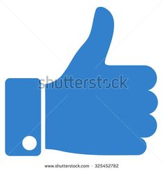 Thumb Up vector icon. Style is flat symbol, cobalt color, rounded angles, white background.