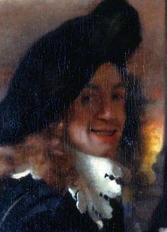 Détail de L'Entremetteuse(1656) de Johannes Vermeer où le peintre s'est représenté - Dresde