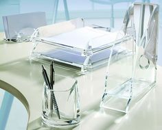 Clear desk accessories