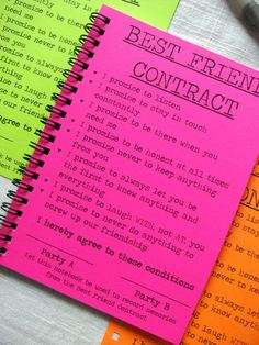 long distance friendship gifts, three note books in pink, green and orange neon colors, cover says best friend contract for best friends friendship + Ideas for Best Friend Gift Ideas to Make at Home Birthday Gifts For Best Friend, Friend Birthday Gifts, Birthday Diy, Birthday Quotes, Cute Best Friend Gifts, Birthday Presents, Birthday Ideas, Best Friend Presents, Birthday Present Ideas For Best Friend