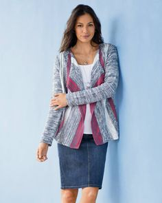 Mixed-stripes cascading cardi and the Smooth-Fit denim skirt
