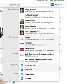 autosuggest results from LinkedIn that group results by type