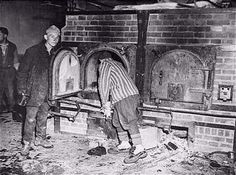 Prisoners showing the Mauthausen ovens.