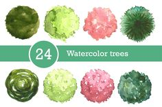 Watercolor trees set, top view by Lina_Lisichka on @creativemarket