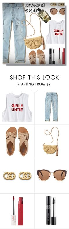 """Boyfriend Jeans!"" by sarahguo ❤ liked on Polyvore featuring Hollister Co., Billabong, Mar y Sol, Gucci, Marni, Maybelline, Christian Dior and Garance Doré"