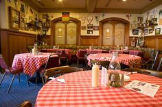"""Interior of the """"Bierstube"""" pub at the German-American  """"Phoenix Club"""" in Anaheim, CA - Accordion player Frank Lenz and German singer Renate are here every Friday and Sunday evening for your listening and dancing pleasure."""