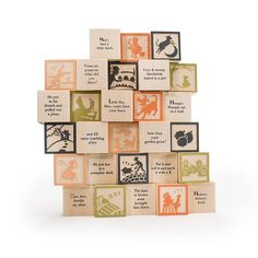 Uncle Goose American-made baby blocks. Set of 28 basswood blocks embossed with two images from Mother Goose stories, with nursery rhyme text on the other sides. Classic Nursery Rhymes, Harry Potter, Alphabet Blocks, Thing 1, Images And Words, Baby Blocks, Mother Goose, Christmas Gifts For Kids, Christmas Presents