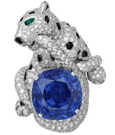 Cartier Boreal Panther ring - Platinum, one 24.46-carat cushion-shaped sapphire from Ceylon, onyx spots and nose, emerald eyes, brilliants.