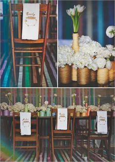 Rainbow Wrapped Centerpieces via theproperpinwheel.com