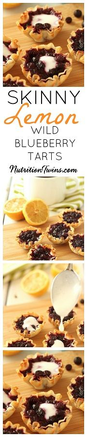 Lemon Wild Blueberry Mini Tarts | Only 47 Calories | Indulgent, Guilt-free, Sweet & Tart Combination | Super Satifsying | Easy to Make | Packed with antioxidants for healthy skin & blood flow | For MORE recipes and tips please SIGN UP for our FREE Newsletter www.NutritionTwins.com