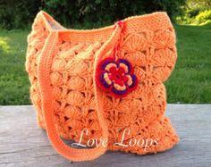 Tote bag handmade crochet bag orange bag shopper bag orangw shoulder bag