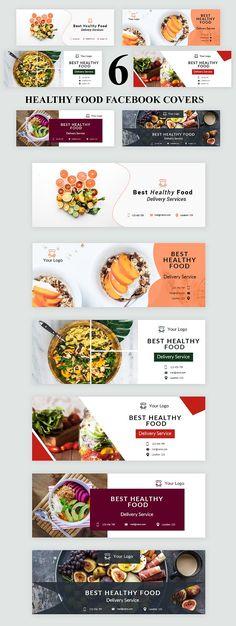 Healthy Food Facebook Covers - SK by UNIK Agency on @creativemarket Food Menu Design, Food Poster Design, Food Banner, Web Banner, Food Advertising, Advertising Design, Food Template, Banner Template, Facebook Cover Design