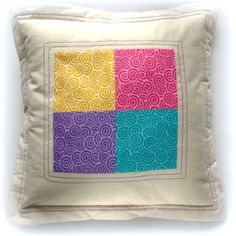 Decorative pillow  Quilted patchwork Turquoise Yellow Violet Pink Off White For Home. $35.99, via Etsy.