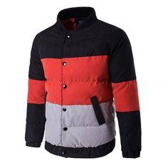 46.64$  Watch here - http://diw36.justgood.pw/go.php?t=207384104 - Color Block Raglan Sleeve Buttoned Puffer Jacket