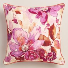 One of my favorite discoveries at WorldMarket.com: Watercolor Floral Embroidered Throw Pillow