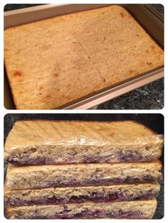 LEMON BLUEBERRY PROTEIN BARS - E 1 c ground up oats into flour 5 Scoops vanilla protein powder 1 tsp baking soda 1 tsp baking powder 1/2 tsp salt 1/4 cup Sweet Blend  1/2 cup unsweetened applesauce 1/2 cup nonfat plain Greek yogurt 1/2 cup unsweetened vanilla almond milk 4 egg whites Zest & and juice of 2 lemons 1 tsp vanilla extract 1 cup blueberries DIRECTIONS: Mix dry ingredients. Mix wet ingredients. Add the wet to dry. Pour into 9x13 pan lightly greased. Bake 35 min@350. Cool & cut.
