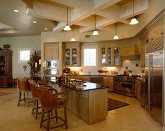 wonderful kitchen layout... love the barstools! #home  #interior design #kitchen