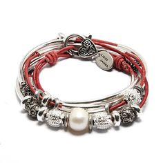 Kristy 2 strands leather wrap bracelet in natural dark pink leather, comes with beads as shown