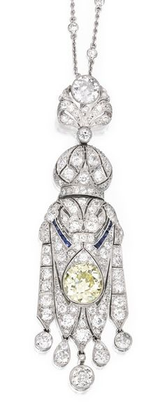 [Detail] PLATINUM, COLORED DIAMOND, SAPPHIRE AND DIAMOND SAUTOIR The pendant centering an old European-cut diamond of yellow hue weighing approximately 2.90 carats, accented by 10 calibré-cut sapphires, further set with numerous old mine, old European and single-cut diamonds weighing approximately 6.00 carats, suspended by a chain set at intervals with single-cut diamonds weighing approximately 1.50 carats, length 41 inches; circa 1920.
