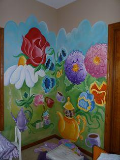 Alice in Wonderland talking flowers Nursery wall mural Done with
