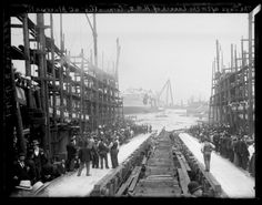 A photograph entitled 'The Ways After the Launch of HMS Cornwallis at Blackwall', taken by Edgar Tarry Adams in July The photograph shows the slipway used to launch the HMS 'Cornwallis' into the River Thames at Blackwall, London. Old London, East London, Tower Hamlets, Uk Europe, Science Museum, River Thames, London Photos, London Street, Historical Pictures