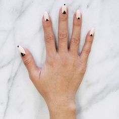 "Aries nail art: ""Sporting a black chevron over a nude nail enables you to find balance in 2016. You're never one to stray from adventure. The New Year calls for patience and contentment from you, Aries. This look will help you get there."""
