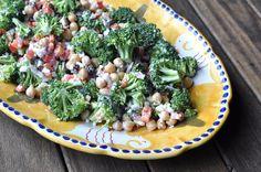 Two Blue Lemons: Broccoli & Chickpea Salad with Feta Dressing