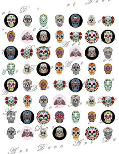 Day of the Dead Dia de Los Muertos Sugar Skull Tattoos by artdeco