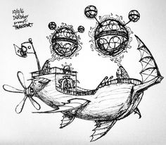 """Check out this awesome #airship #penandink #sketch by Alex Hinners (@lxnrhinners) of a flying ship presumably held aloft by some floating orbs tethered to the ship by some sort of grappling energy.  Drawn as part of #inktober back on Day 11's """"Transport"""" theme Alex has produced a super interesting vehicle design with this flying machine. Big ol' fins to help cut through the air. A giant propeller for thrust. And a cool looking ship to sail through the clouds. My favorite part is the way Alex…"""