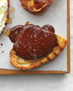 Melted Chocolate with Fleur de Sel Bruschetta: Luxurious melted chocolate covers crunchy toast in this dessert-like appetizer offering.