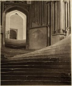 Frederick H. Evans, A sea of steps, Stairs to Chapter House, Wells Cathedral, 1903, Platinum print.