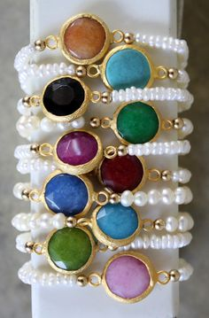 color bezel pearl bracelet ! love me some arm candy :)