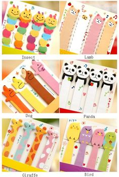 Long Size Cute animal sticky notes,memo pads memo sticker label note for DIY scrapbook decoration, bookmark,paper working,wedding party deco on Etsy, $2.00