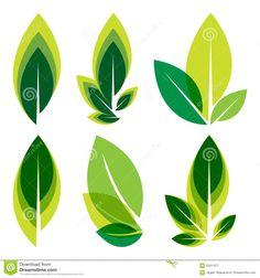 Green Leaves Logo Set Royalty Free Stock Photography - Image: 32611977