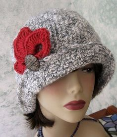 Crochet Patterns Hat Crochet Hat Pattern Flapper Style With Brim Petal by kalliedesigns Crochet Hat With Brim, Crochet Hat For Women, Crochet Beanie, Knitted Hats, Crochet Hats With Flowers, Crochet Flower, Bonnet Crochet, Crochet Cap, Free Crochet