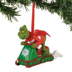 Grinch Snowmobiling Fun Ornament - Dr Seuss