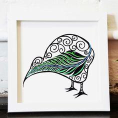 Archival print Kiwi bird - kiwi bird and silver fern, paper cutting, New Zealand Kiwi, hand cut, archival print by BlackBirdsandTrees on Etsy Fern Tattoo, Bird Tattoo Wrist, Bird Nest Craft, Bird Crafts, Blue Bird Naruto, Tiny Bird Tattoos, Maori Designs, Tattoo Designs, Crafty Hobbies