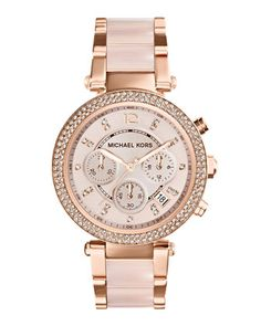 ad55878f7962d Mid-Size Rose Golden Stainless Steel Parker Chronograph Glitz Watch by Michael  Kors at Neiman