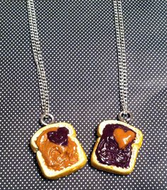 Peanut Butter and Jelly Hearts Pendants by GuiltfreeDecadence, $17.00