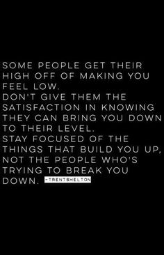 Some people get their high off of making you feel low. Don't give them the satisfaction and knowing they can bring you down to their level. Stay focus of the things that build you up, not the people who's trying to break you down.
